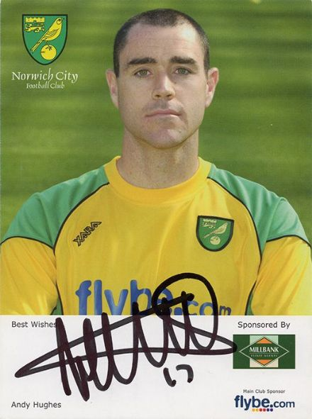 Andy Hughes, Norwich City, signed 6x4 inch promo card.